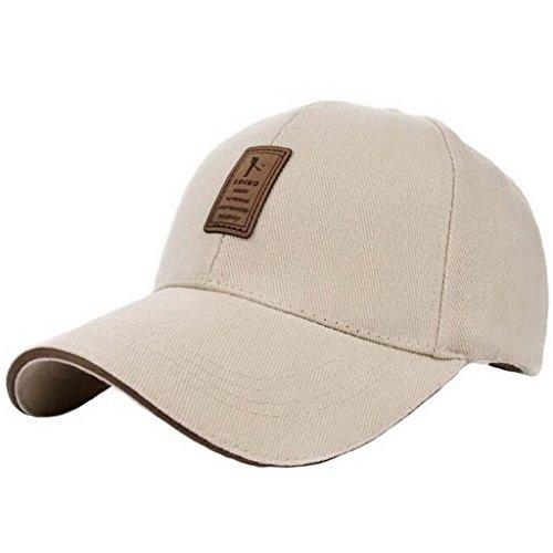 Ukerdo Homme Solide Coton Loisir Casquettes de Baseball Réglable Sport Dotées Chapeau (F)