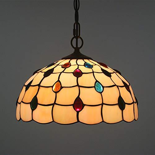 WQ Tiffany-Stil Pendelleuchte, Glasmalerei Design Kronleuchter, kreative Retro-Kunst Hängelampe im Innenhof Korridor Restaurant verwenden,30cm