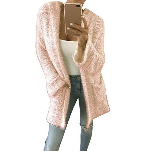 Mit Kapuze Stricken Cardigan Pocket Long Sleeve Beiläufige Lose Outwear(X-Large,Rosa) ()