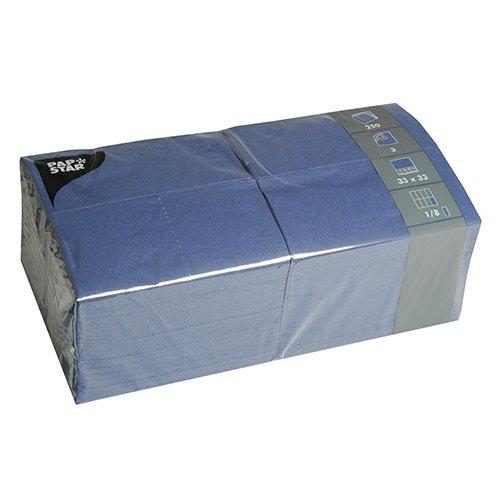 Tissueservietten dunkelblau (250 Stück) 33 x 33 cm, 3-lagig, 1/8-Falz, für Gastronomie, Haushalt und Feste, #84576 ()