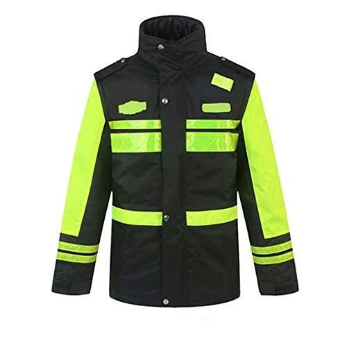 Reflektierende Baumwolljacke - Road Traffic Duty Reflektierende Jackenjacke Männliche Straßensicherheit Fluoreszierende Dicke Baumwolljacke Verdickung Innerer Abnehmbarer Ärmel Gute Qualität