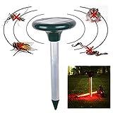 Qazwsxedc para ti Paulclub RC-501 Solar Power ultrasónico del roedor del Topo Rata del ratón de plagas de roedores Repelente de Gopher