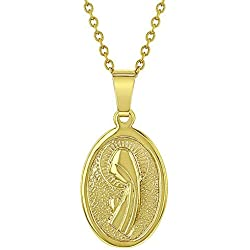 In Season Jewelry Chaîne avec pendentif en plaqué or 18carats Motif Vierge Marie 40,6cm