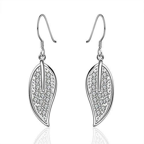 Alimab Gioielli Placcato in oro donne orecchini albero foglie argento orecchini