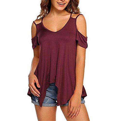 TITIU Damen Reine Farbe trägerlosen Plus Größe Kurzarm Weste Bluse Top Tunika Shirt Oberteil Tees (3XL, Wein) (Baumwolle Trägerlosen Kleid Bestickt)