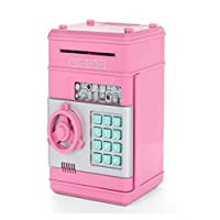 Piggy Bank Mini Atm Money Box Safety Electronic Password Chewing Coins Cash Deposit Machine for Children pink