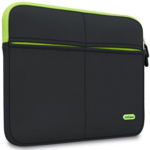 AirCase 11.6-Inch Laptop Sleeve, Premium, Designer, Suave, 6-MultiUtility Pockets (Black)