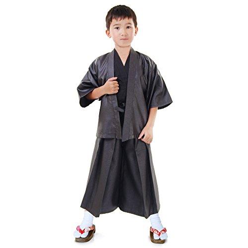 Japan Jungen Samurai Kendo Gi + Hakama + Haori Set 3-tlg Kinder Kostüm Kimono Faschingskostüm (Kimono Kostüm Für Jungen)