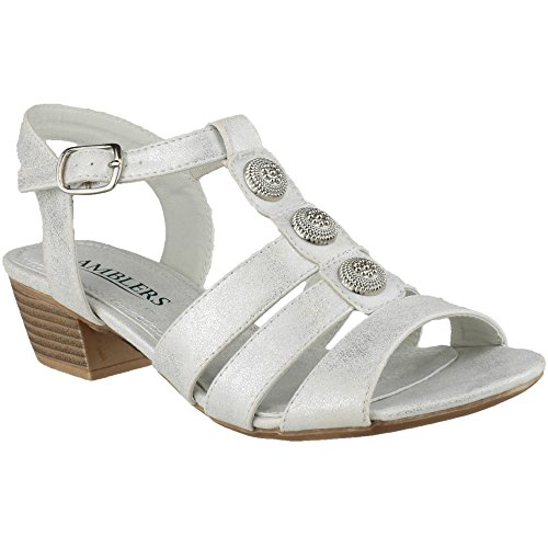 Amblers Ladies Cavone Ankle Strap Block Heel Fashion Sandal Grey Grey