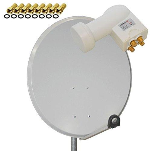 PremiumX Sat Anlage PXA80 80cm Spiegel Schüssel Antenne Aluminium Hellgrau + LNB Quad 0,1db PXQS-SE Weiß Digital HDTV Full HD 3D + 8x F-Stecker
