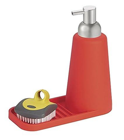 Distributeur de savon à pompe en silicone avec panier à éponge pour les plans de travail de cuisine - Rouge/