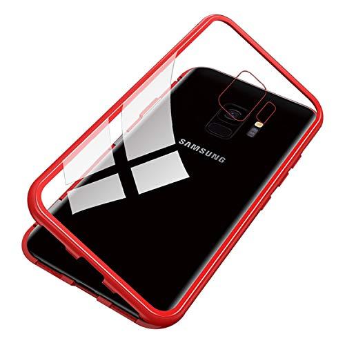 UNIYA Galaxy S9 Magnetische Hülle, gehärtetes Glas, magnetischer Metallrahmen, Aluminiumlegierung Schutzhülle 18 * 8 * 0.5 transparent/rot -