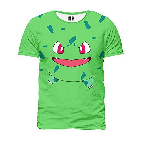 BULBASAUR Pokémon - T-Shirt Man Uomo - Charmander Pokemon Go Plus Rosso Blu Giallo, T-Shirt, Ash Nintendo Game Boy 3DS Pikachu Pixel