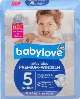 Preisvergleich Produktbild babylove Windeln Premium aktiv plus Größe 5, junior 12-25kg, 1 x 36 St