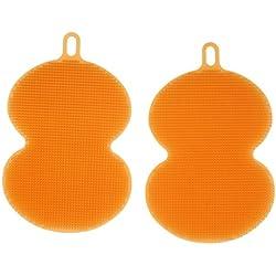 MagiDeal 2x Tablero Silicona para Limpia Limpieza de Cepillo de Maquillaje - naranja