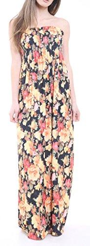 Oops Outlet - Robe Longue Bustier Pour Femmes Imprimé Fleuri Été Bandeau Multi Rose Floral