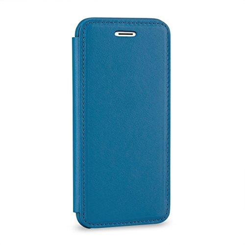 StilGut Book Type Case, Hülle Leder-Tasche für iPhone 6 Plus und iPhone 6s Plus. Seitlich klappbares Flip-Case aus Echtleder für das Original iPhone 6 Plus und iPhone 6s Plus (5,5 Zoll), Rot Nappa Aquablau Nappa