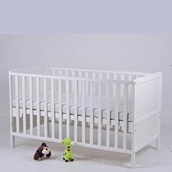 classic baby cot bed & junior bed with free quilted mattress and teething rails (white)