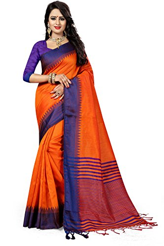 Traditional Ethnic Raw Silk Banarasi Sarees With Unstitched Blouse Design, Orange
