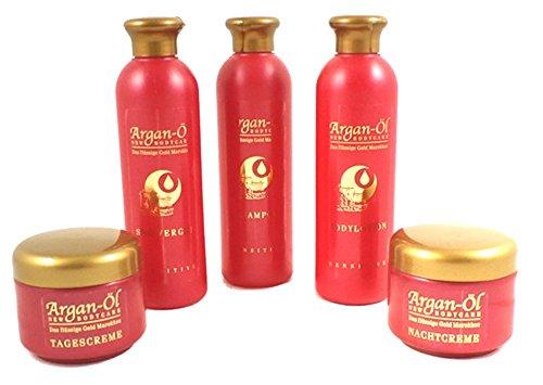 Argan Öl Pflege Set 5 teilig Shampoo Bodylotion Duschgel Tages- und Nachtcreme