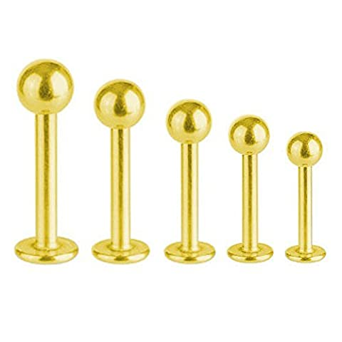 Labret Bar Tragus Monroe Piercing Gold Plated Titanium 1,2 mm With Ball | 5 - 12, Length:6.0 mm;Ball:3.0 mm