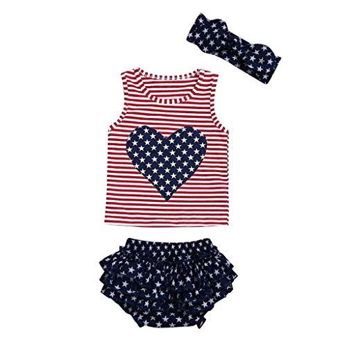 Mitlfuny Kleidung Set Kleid Damen Sommer Elegant Baby Mädchen Outfits & Set,Kleinkind Baby 4. Juli Love Star gestreifte patriotische Tops + Rüschen Shorts Outfits - Patriotische Damen-lange Hülse