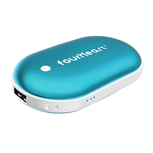 fourHeart 5200mAh Kiesel Form Double-Side Wiederaufladbare Handwärmer / USB Portable Power Bank für iPhone, Samsung Galaxy und mehr (Blue)
