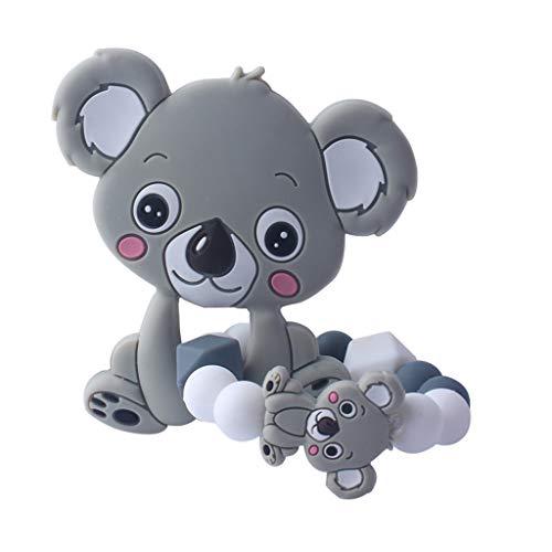 Yanhonin Jouet De Bébé Perles De Silicone, Koala Anneau Dentition Hochet Montessori Bébé Teether Pendentif DIY Bracelet Bijoux Jouets Sensoriels Cadeau