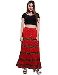 Bfly Women's Cotton Embroidered Long Skirt(Red)