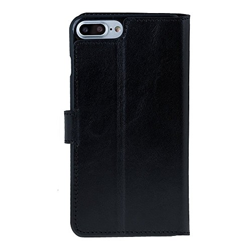 "Solo Pelle iPhone 7 Plus / 8 Plus Case Lederhülle Ledertasche ""Wallet"" in Schwarz Schwarz"