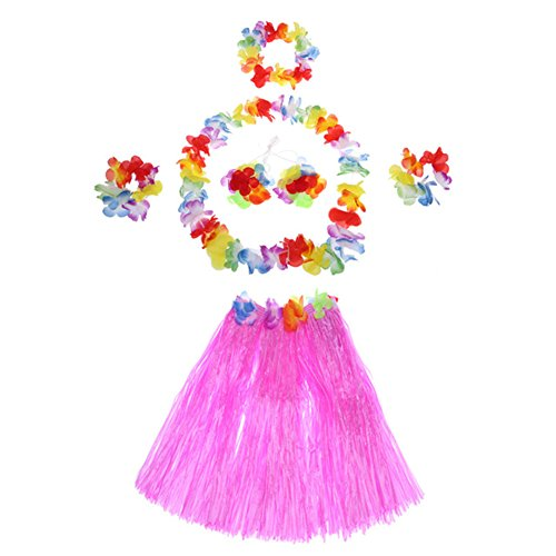Demarkt Hawaii Party Kostüm Set von 5 Stück,Hawaiian Kostüm,Hawaii Rock,Hula Rock,Blume Stirnband,Blumen Armband Halskette Girlande, Mädchen Zubehör für Hula Luau Party, Einheitsgröße size 40cm (Rosa)