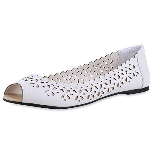 SCARPE VITA Modische Damen Peeptoe-Ballerinas Flats Cut-Outs Sommer Schuhe 160622 Weiss Cut-Outs 41