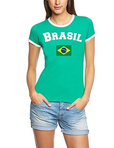 Coole-Fun-T-Shirts Brasilien T-Shirt RIGI Name + Nummer Damen gelb, Gr.L -