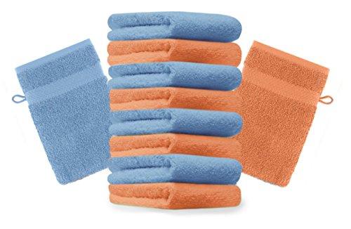 BETZ lot de 10 gants de toilette taille 16x21 cm 100% coton Premium couleur orange, bleu clair