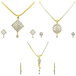 Quail Gold Plated American Diamond Pendant Set Combo with earrings & Chain for Women & Girls