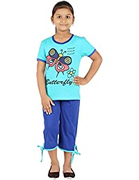 FICTIF Kid Girl's Blue Color Top & Capri Set
