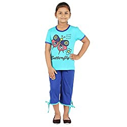 FICTIF Kid Girls Blue Color Top & Capri Set