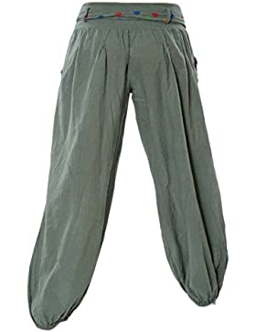 Mujer Pantalones Largos Harem Pantalón Baggy Yoga Holgados Flojos Suave Casual Pantalones Verde del Ejército 4XL