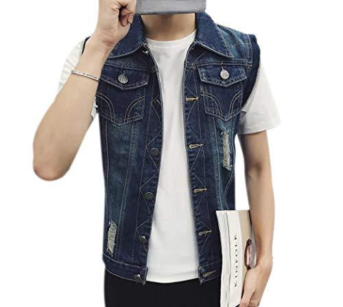 CuteRose Men's Loose Skinny Casual Ripped Button Turn Down Collar Denim Vest Blue XS - Big Mens Down Vest