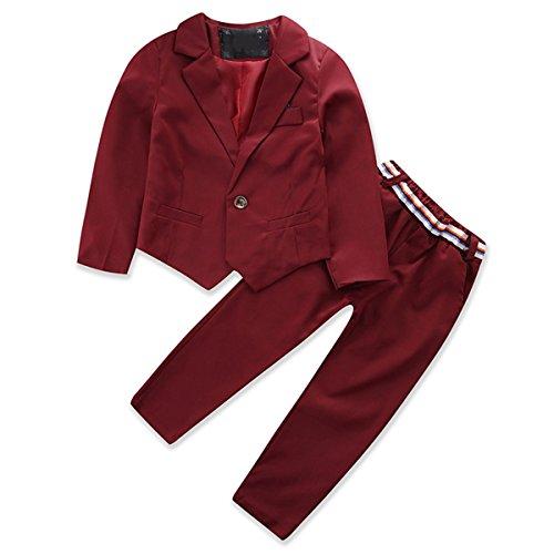 Leisure Suit Red Kostüm - Chennie 2-8Y Jungen Gentleman Set Kleidung Langarm Blazer Mantel Thousers Freizeitanzug (Color : Wine Red, Size : 4-5Y)