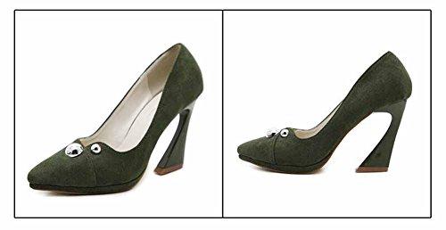 GLTER 9 CM Pompe 2017 Autunno Britannico New Pieghettato Scarpe In Pelle Scamosciata OL Donne Scarpe Green