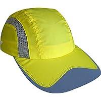 EKEKO Gorra de Running Xrace, vsystem, Tejido microperforado Transpirable con Detalles Reflectantes, Running y Deportes en General. (Amarilla)
