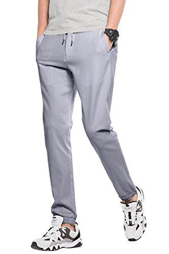 Pantaloni jogger elastico da uomo, Slim Fit, pantaloni tuta multifunzionali, Argento, S (Vita 79CM, Lunghezza 103)