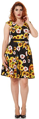 Voodoo Vixen Kleid BIANCA SUNFLOWER DRESS 8132 Schwarz S