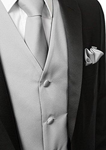 Herren 3 Stueck Weste NeckTie Tasche Square Set fuer Anzug oder Smoking von Judi Dench Silber