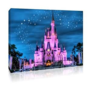 Disney Château Grand format 76 x 51 cm Cadre Photo sur toile-Rose
