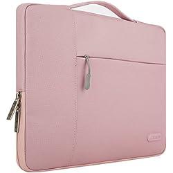 MOSISO Tasche Sleeve Hülle für 13-13,3 Zoll MacBook Pro, MacBook Air, Notebook Computer Multifunktionshülsen Spritzwasserfest Laptoptasche Notebooktasche Aktentaschen Handtaschen Kasten mit zusätzlichem Stauraum Polyester Schutzhülle, Pink