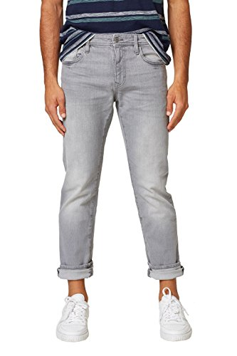 edc by ESPRIT Herren Straight Jeans 028CC2B007, Grau (Grey Light Wash 923), 36/34 (Grey Baumwolle Light Jean Denim)