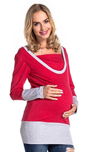 Happy Mama. Damen Sweatshirt Stillzeit Top Zweilagiges. Kontrastdetails. 457p Rot