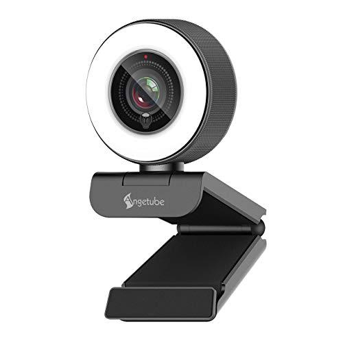 Streaming HD webcam 1080P con anello di luce,Angetube 967 USB PC autofocus webcam con doppio microfono,videocamera per Mac Windows portatile per conferenze e giochi Xbox Skype OBS Twitch Youtube